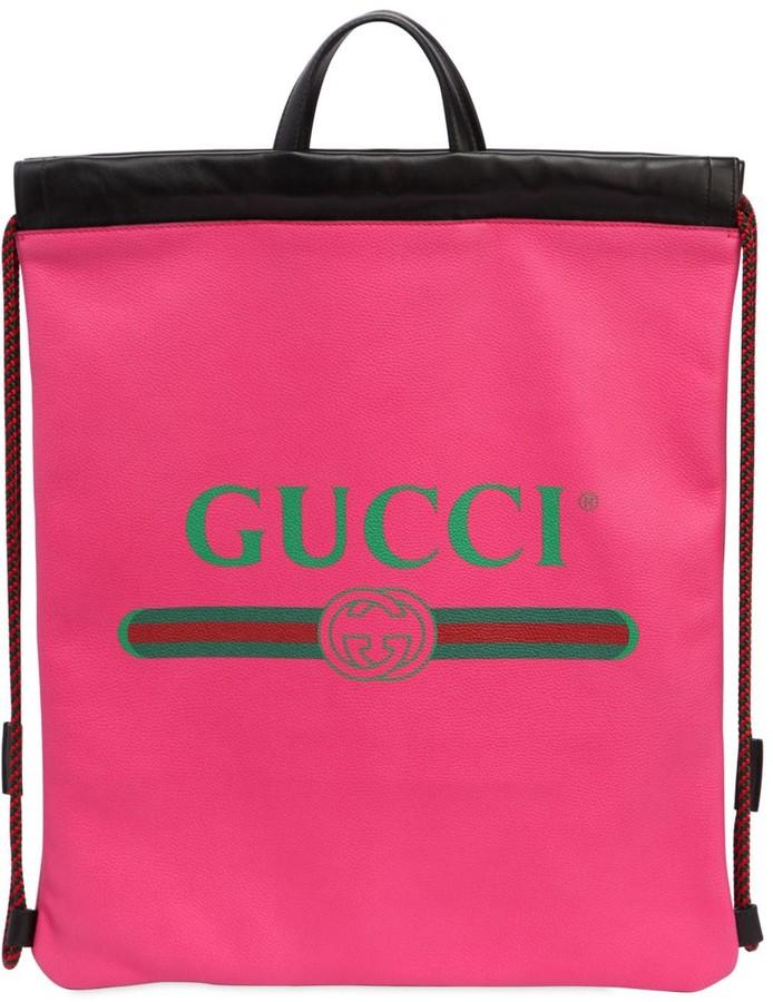 Gucci Vintage Logo Printed Drawstring Backpack
