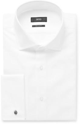 HUGO BOSS White Double-Cuff Cotton-Pique Shirt