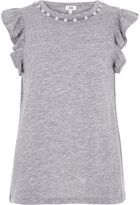 River Island Womens Marl grey faux pearl neck frill tank top