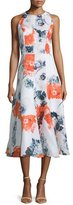 Carmen Marc Valvo Sleeveless Floral-Print Midi Dress, Orange