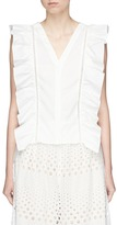Alice + Olivia 'Janet' crochet trim ruffle V-neck sleeveless top