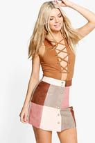 Boohoo Avah Patchwork Suedette A Line Mini Skirt