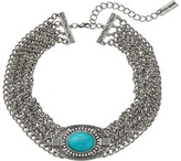 Steve Madden Oval Turquoise Stone w/ Four Row Chain Choker Necklace Necklace