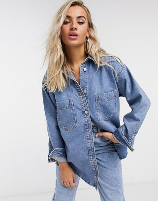Topshop denim overshirt in mid wash blue