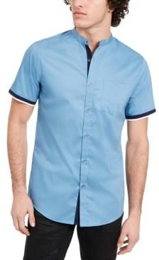INC International Concepts Inc Men's Varick Banded Collar Short Sleeve Shirt, Created for Macy's
