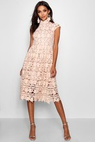 boohoo Boutique Lace Midi Skater Bridesmaid Dress