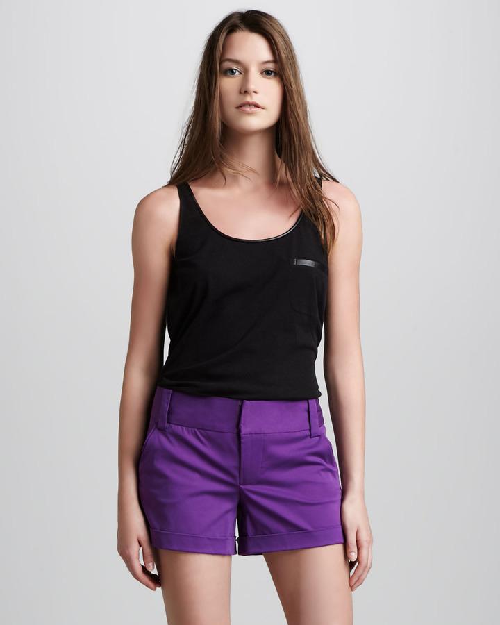 Alice + Olivia Cady Cuffed Shorts, Purple