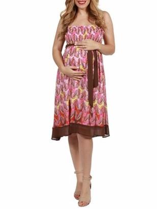 24/7 Comfort Apparel 24seven Comfort Apparel Flowey Pink Sleeveless Maternity Summer Dress