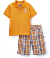 Beverly Hills Polo Club Orange Polo & Plaid Shorts - Boys
