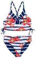 Jantzen Neo Nautical Floral Stripe Bikini with Reversible Bottom (Big Girls)