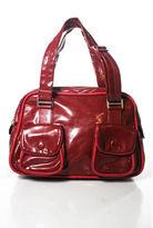 Stella McCartney Red Leather Large Zipper Shoulder Handbag RHB3/4