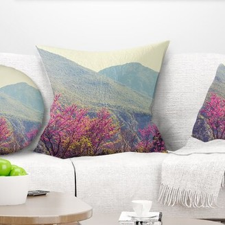 """East Urban Home Floral Blossoming Flowers in Mountains Pillow Size: 16"""" x 16"""", Product Type: Throw Pillow"""