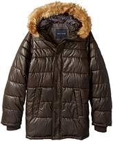 Tommy Hilfiger Men's Tall Size Quilted Faux Leather Parka with Removable Faux Fur Trimmed Hood