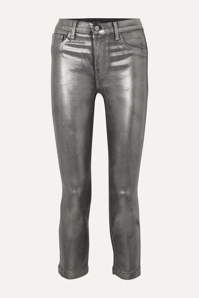 J Brand Ruby Cropped Metallic Coated High-rise Slim-leg Jeans - Silver