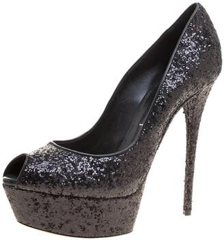 Casadei Black Glitter Peep Toe Platform Pumps Size 38.5