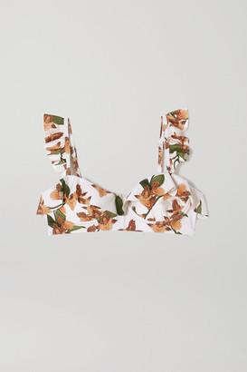 Agua Bendita Margot Ruffled Floral-print Underwired Bikini Top - Cream