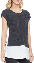 Vince Camuto Mixed Media Shirttail Top