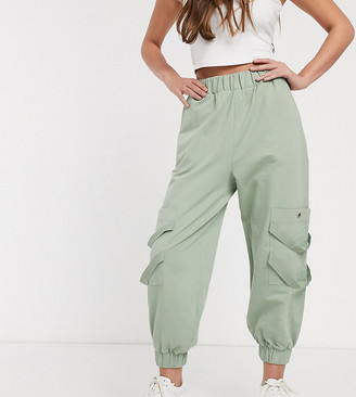 ASOS DESIGN Petite washed jogger with pockets and herringbone tape