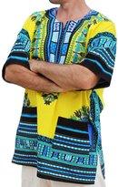 Raan Pah Muang RaanPahMuang Unisex African Bright Dashiki Cotton Shirt Variety Colors