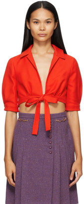 Gucci Red Crepe Cropped Blouse