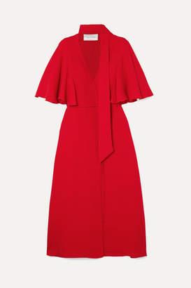 Valentino Silk Crepe De Chine Wrap Midi Dress - Red
