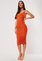 Missguided x Orange Slinky Ruched Lace Up Midi Dress
