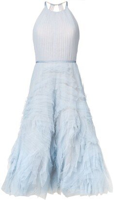 Marchesa Notte Textured Tulle Midi Tea Dress
