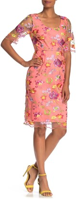 trina Trina Turk Romance Floral Embroidered Sheath Dress