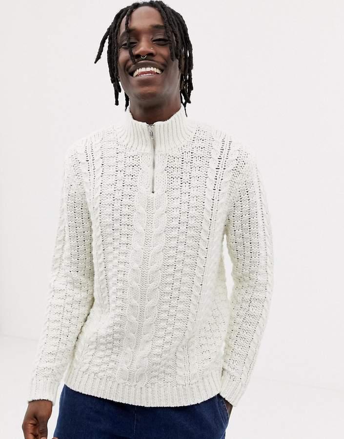 e7ee61a583e Design DESIGN heavyweight cable knit half zip jumper in ecru