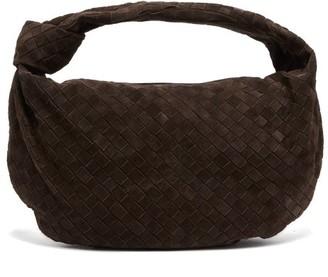 Bottega Veneta Jodie Small Intrecciato Suede Shoulder Bag - Womens - Dark Brown