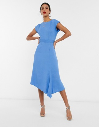 Closet London kimono sleeve midi dress with assymmetric hem in blue