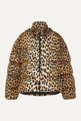 Balenciaga C-shape Hooded Leopard-print Quilted Shell Jacket - Leopard print