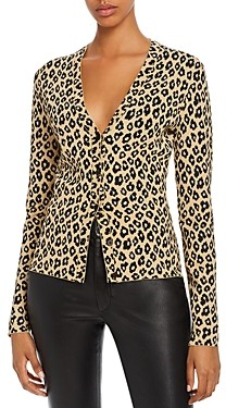 Theory Glosse Leopard-Printed V-Neck Cardigan