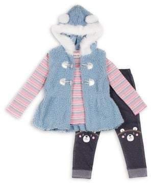 Little Lass Little Girl's 3-Piece Faux Fur Toggle Vest, Stripe Top & Printed Leggings Set