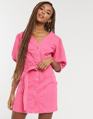 ASOS DESIGN denim multi stitch belted dress in bright pink