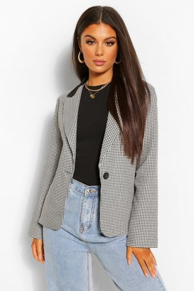 boohoo Contrast Collar Check Fitted Blazer