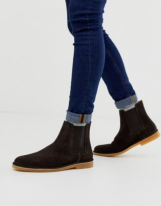 Selected suede chelsea boots in brown