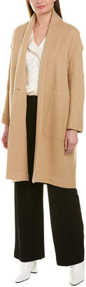 Vince Collarless Long Wool-Blend Coat