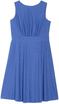 London Times Eyelet Sleeveless Midi Dress (Plus Size)