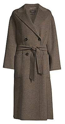 Max Mara Women's Orense Virgin Wool-Blend Check Peacoat