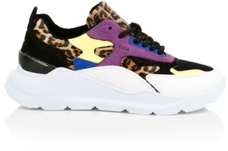 D.A.T.E Fuga Leopard-Print Leather Chunky Sneakers