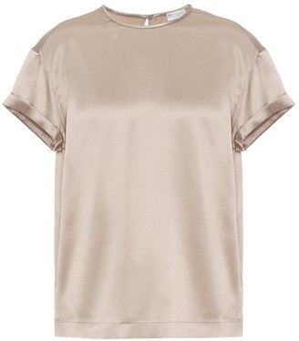 Brunello Cucinelli Stretch-silk satin top