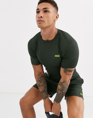 ASOS 4505 icon muscle training t-shirt with quick dry in khaki