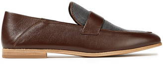 Brunello Cucinelli Bead-embellished Leather Collapsible-heel Loafers