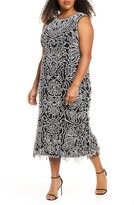 JS Collections Beaded Midi Cocktail Dress