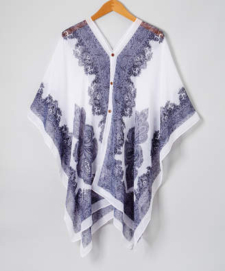 Lvs Collections LVS Collections Women's Kimono Cardigans WHITE - White & Navy Scarf-Print Button-Front Poncho - Women