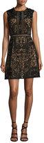 Marchesa Sleeveless Lace A-Line Dress, Black