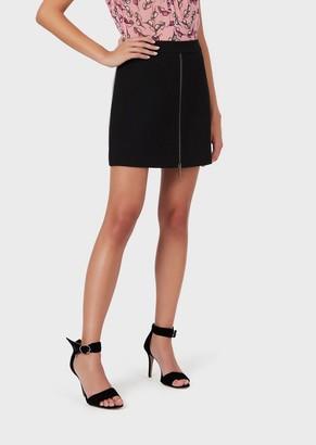 Emporio Armani Zipped, Wool-Crepe Mini Skirt