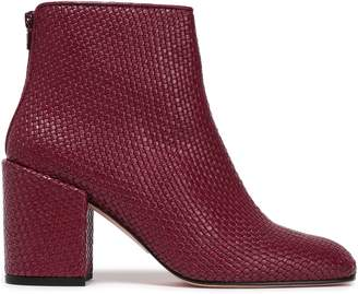 Stuart Weitzman Woven Leather Ankle Boots