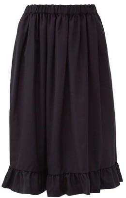 COMME DES GARÇONS GIRL Ruffled Tropical Wool Midi Skirt - Navy